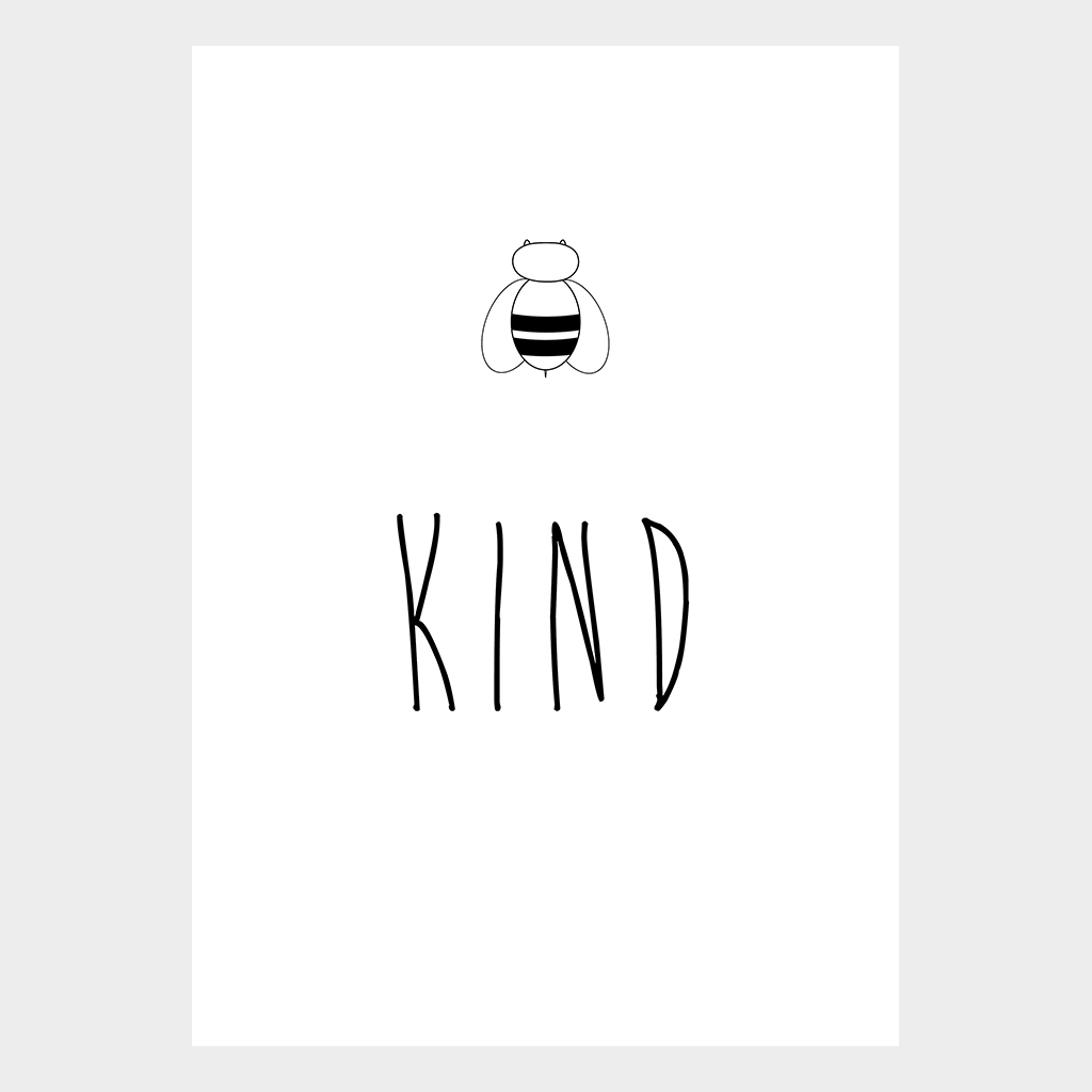 A4 poster bee kind - Ontwerp kind ...